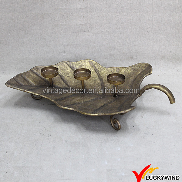 Leaf Plate Golden Finish Metal Vintage Candle Holders