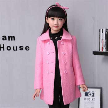 ce8f9ecd66365 GA065 hot sale baby girl winter clothing kids casual wear woolen coat for  10 years old