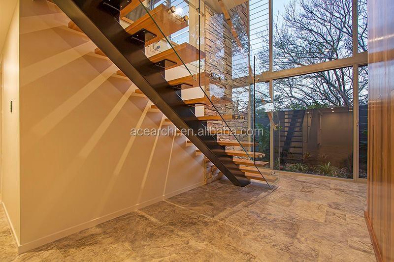 Moderne decoratieve residentiële frameloze glas reling houten