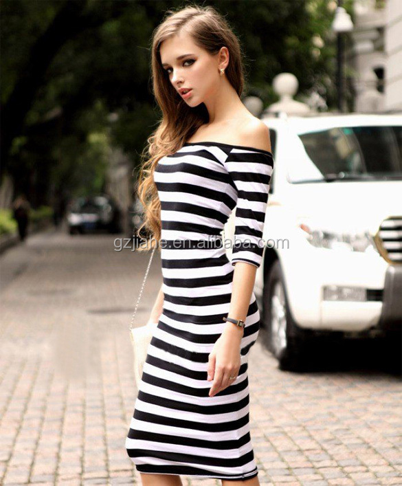2016 Fashion Women Normal Stripes Half Sleeve Knee Length Midi Casual Off the Shoulder Bodycon Pencil Dress