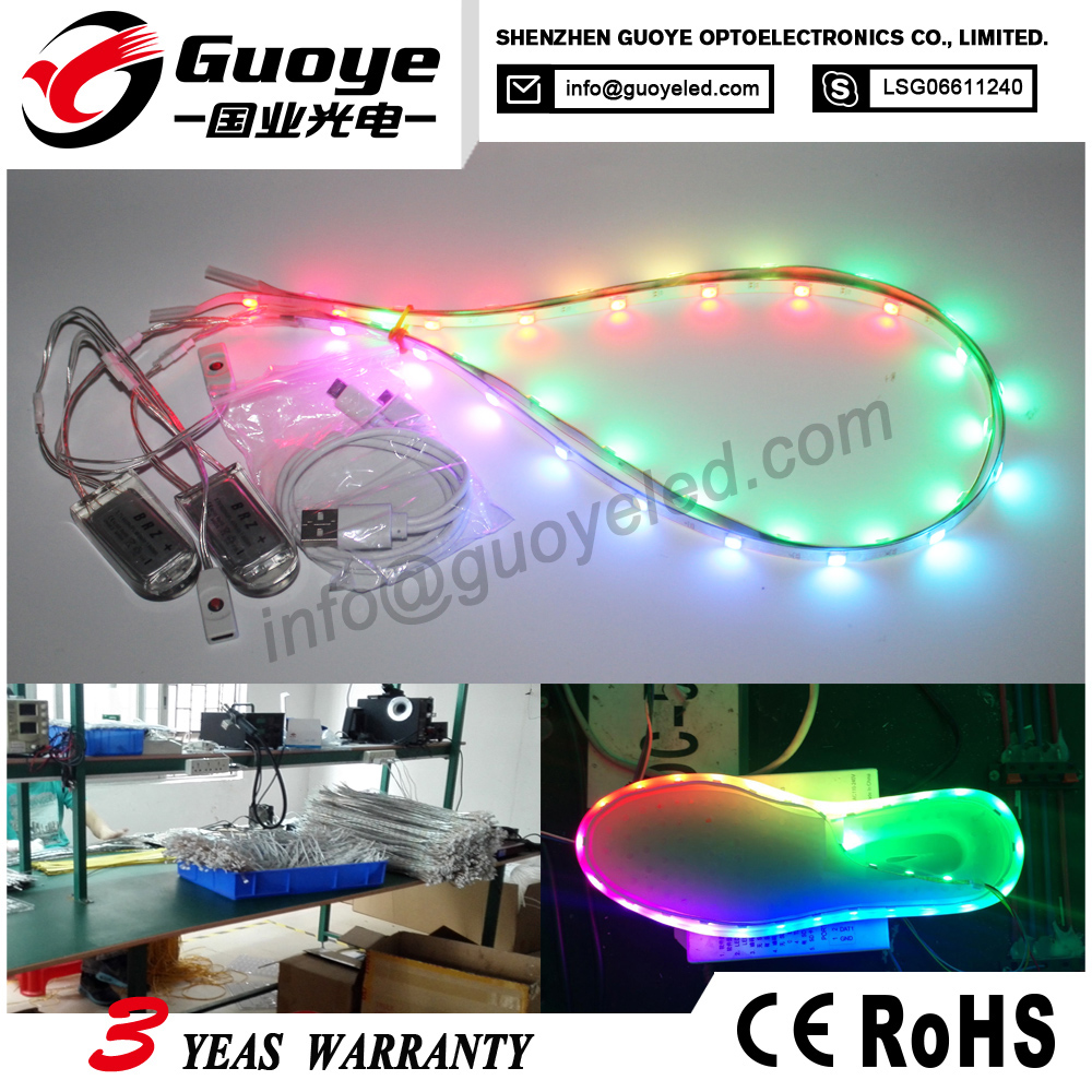 Factory direct shoes light smd3528 24leds with running RGB funtion for sanital light shoes lighting