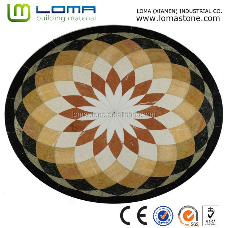 Round marble waterjet medallion, waterjet marble floor medallion tiles design pattern