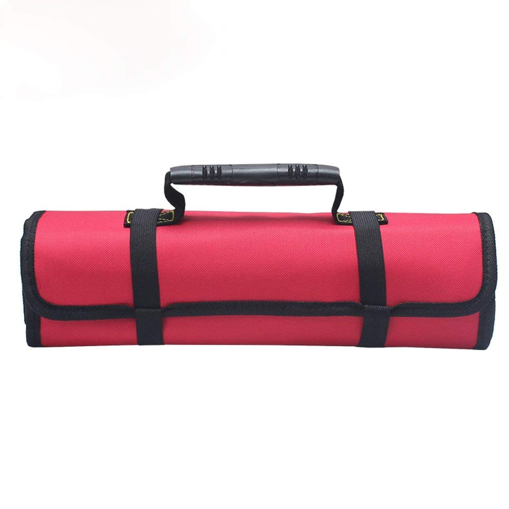 Large Wrench Roll Portable Tool Roll Pouch/Bag/Carrier 22 Pockets with 1 Zippered Pouch Coiling Block Bag Wera Tools Truck Tool Box Big Tote Carrier Socket Tray Electricians Organizer BD0006 (red)