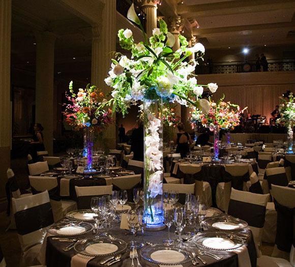 Clear Trumpet Vases Center Piece With Lights Flower Vase Wedding Centerpiece