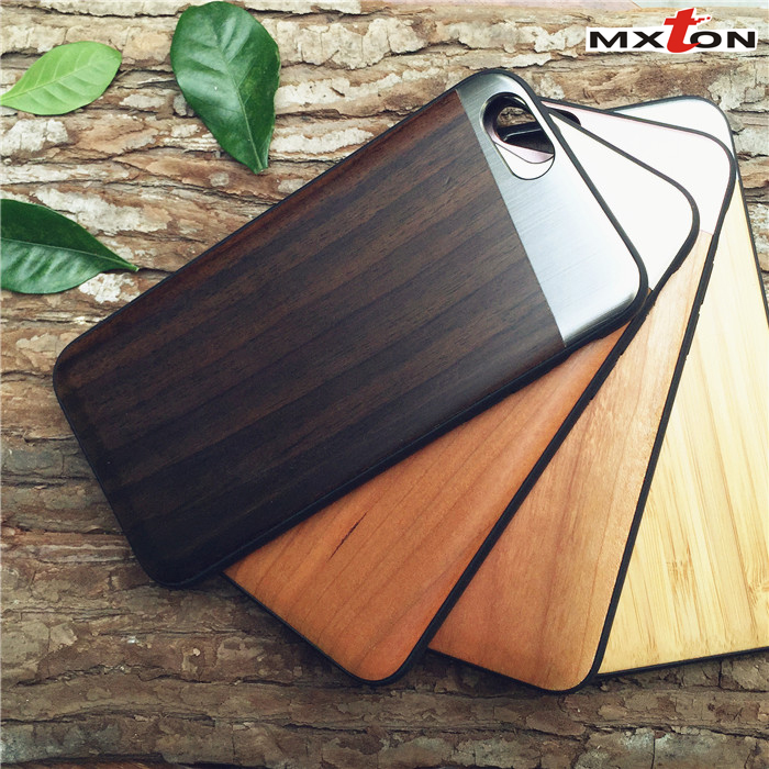 New Fashion Handmade Natural Cell Phone Case for iPhone 6s Newest Design Custom Wood+Metal Phone Case