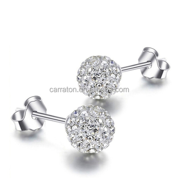 Hot 925 Sterling Silver Jewelry Micro Pave Cz Round Ball Stud Earring