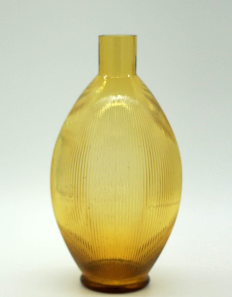 yellow lines glass vase with neck