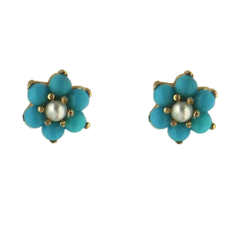 18K Solid Yellow Gold Real Turquoise Paste beads. and Cultivated Pearl center flower covered screwbacks earrings (5mm)