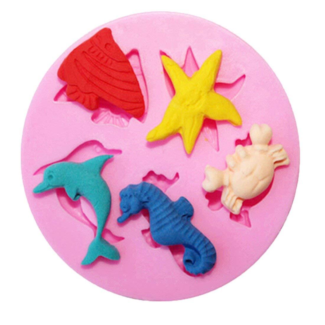 Edtoy Pink Marine Animals Shaped Silicone Cake Mold Chocolate Sugarcraft Decorating Tool