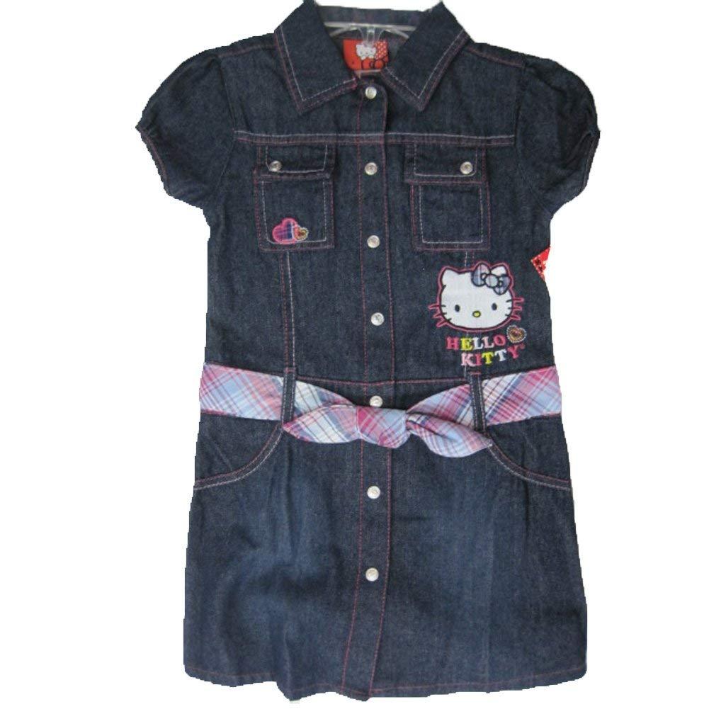 72fad4073 Get Quotations · Hello Kitty Little Girls Blue Denim Plaid Waistband Button  Dress