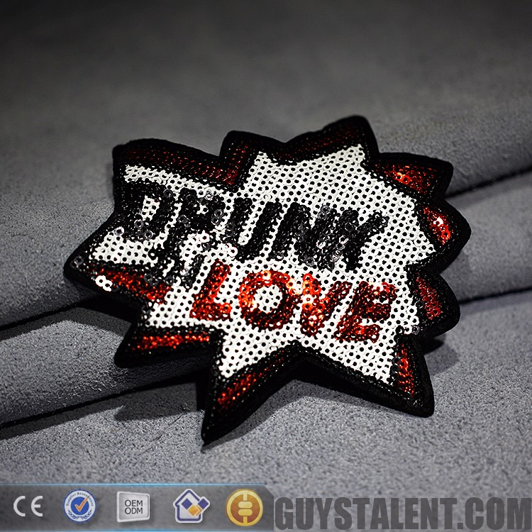 custom High quality shiny sequin bead embroidery patch,sequin embroidery patch applique, sequin sticker patches for garment
