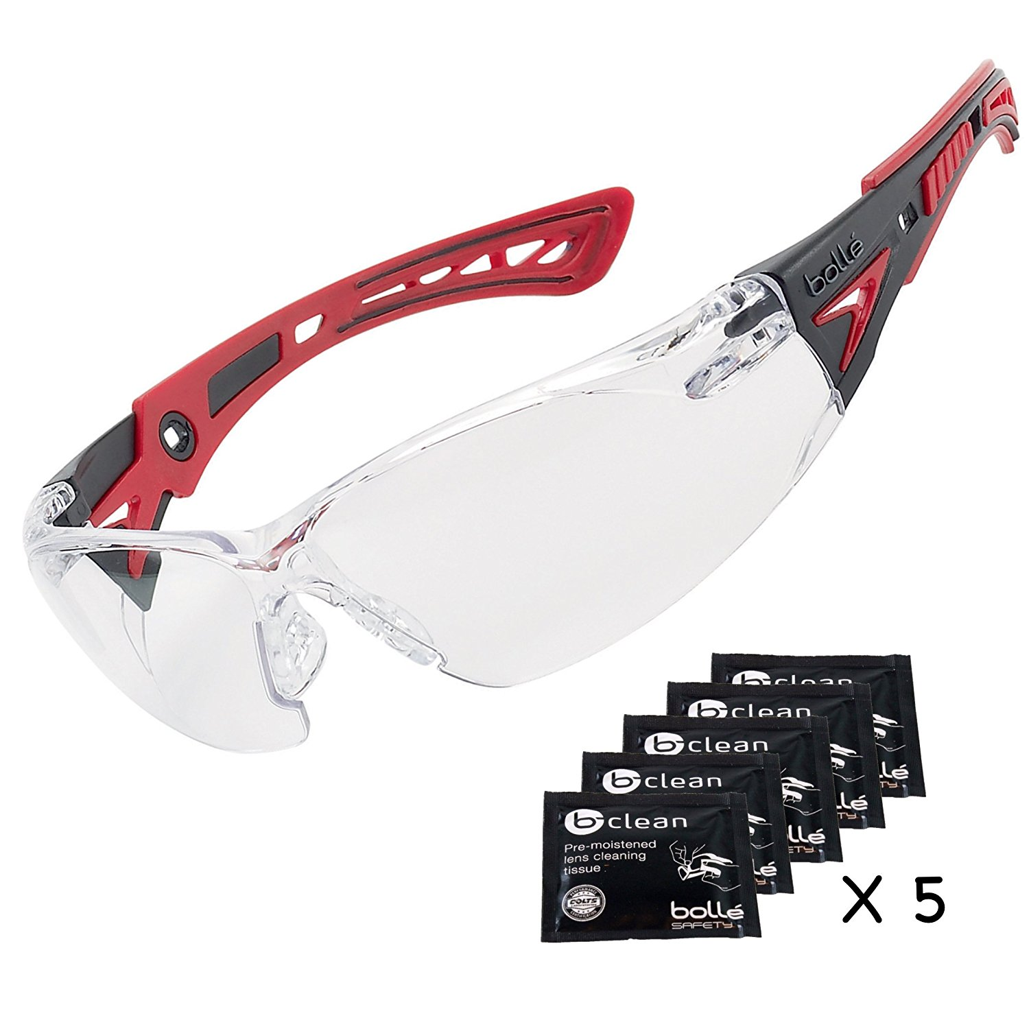 0bbb70b67f7 Get Quotations · Bolle Safety Glasses Rush+ These Clear Safety glasses are  Bundled With 5 Lens Cleaning Tissue