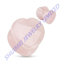 Heart Shaped Rose Quartz Stone Ear Gauge Plug Tunnel Earring Expander Piercing Jewelry