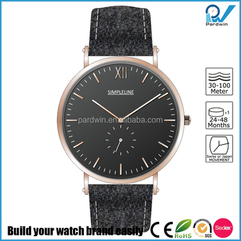 Retro design PVD rose gold unique dark grey tweed strap with genuine leather Mens Watches Custom Logo