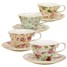 Custom China Rose Porcelain Printed Tea Cup and Saucers