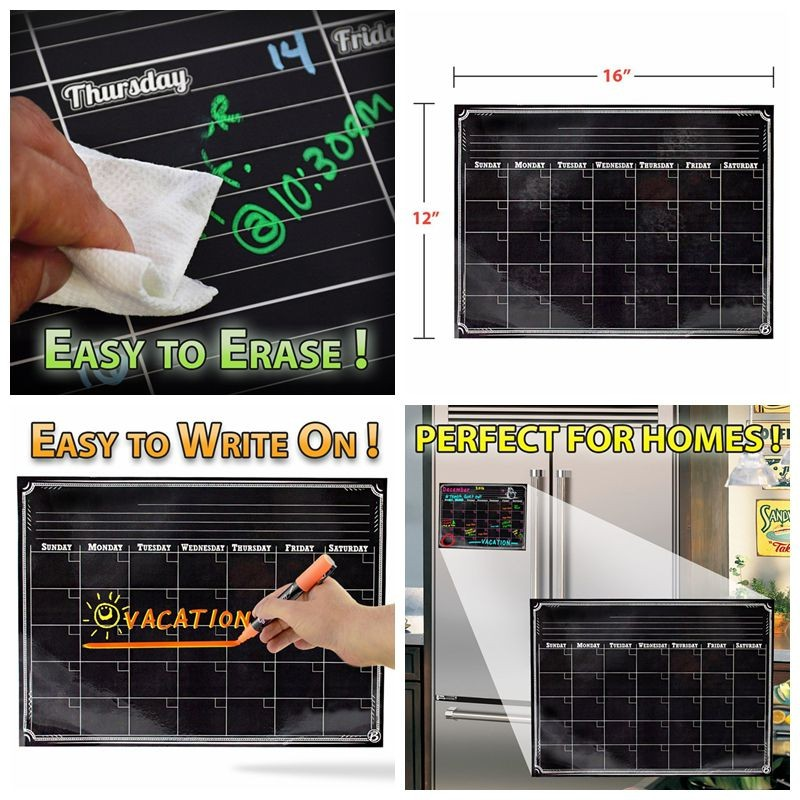 flexible magnetic whiteboard blank acrylic fridge magnet 12*16inch custom size and shape magnet calendar