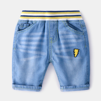 China Products Kid Boys Cotton Fabric Jeans pants Korean Style  embroidered cartoon boy pants