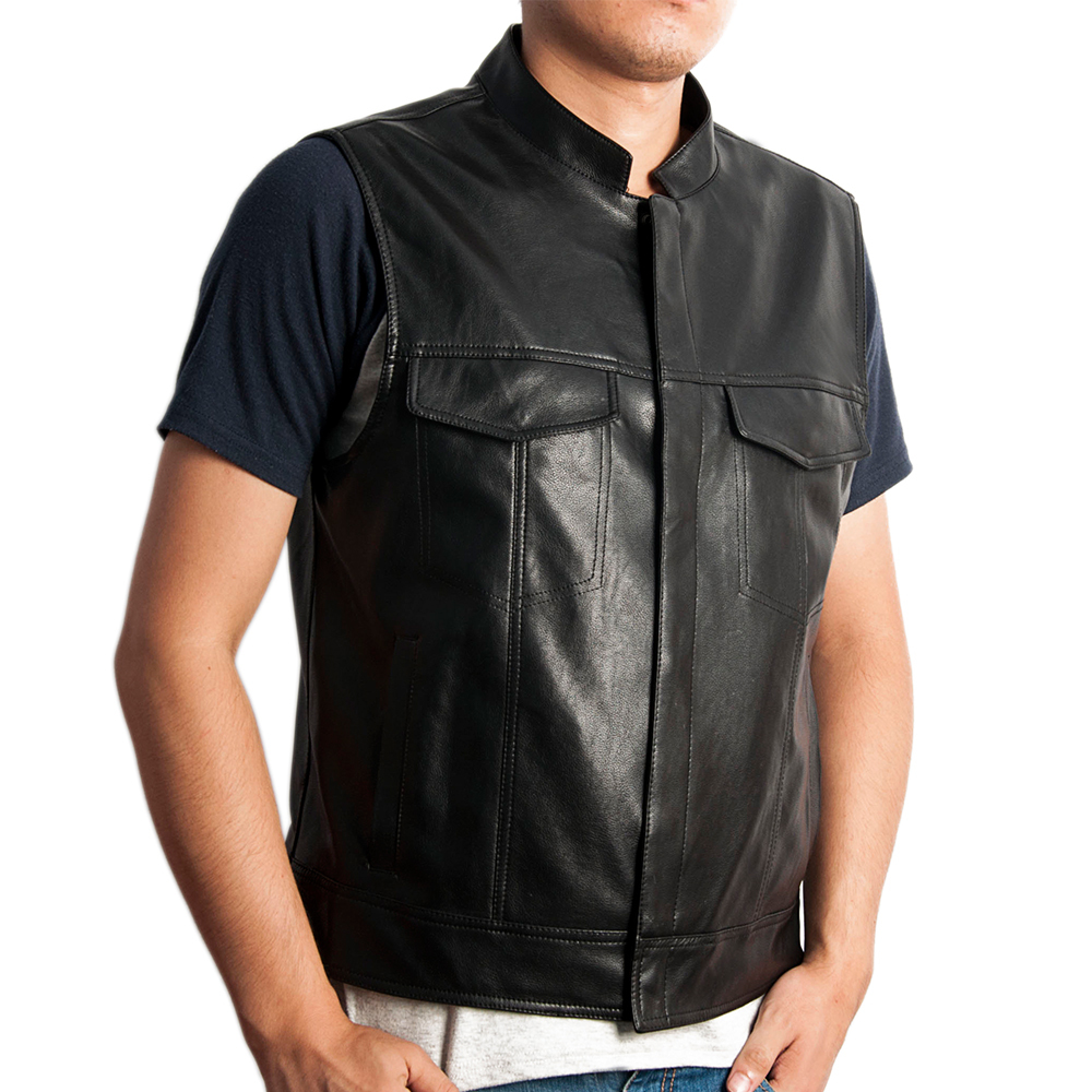 sons of anarchy jax vest Faux Leather can SOA leather vest sleeveless jacket men vest