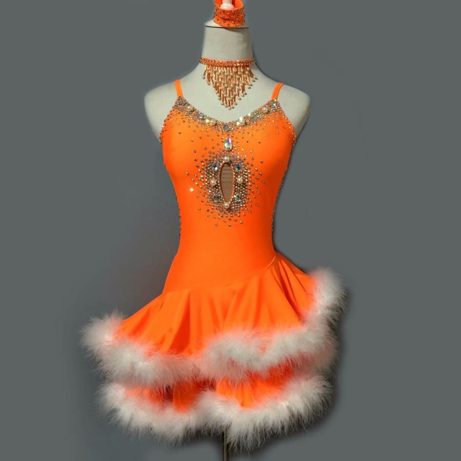 New style Latin dance costume sexy senior stones feather latin dance dress for women latin dance competition dresses S-4XL 3