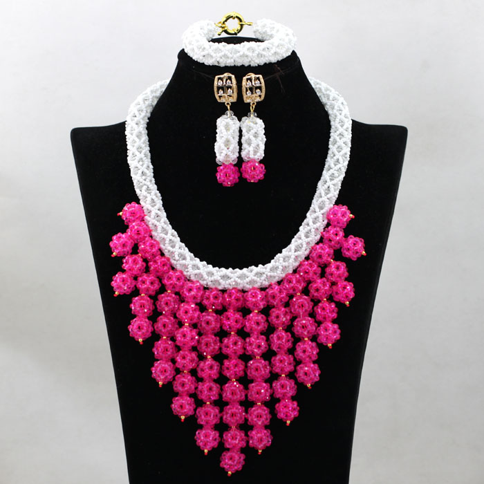 Latest crystal beads bridal coral beads necklace nigeria beads jewelry set