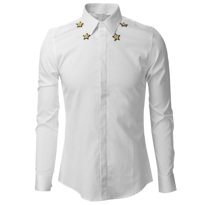 Luxury Brand Men Shirt Long Sleeve Chemise Homme 2015 Fashion Design Embroidery Mens Slim Dress Shirts Stylish Camisas Hombre