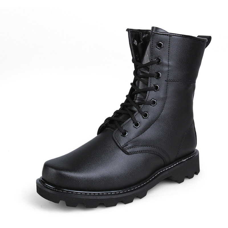 Get Quotations · Autumn and Winter Classic Black Ankle Military Work Boots  With Warm Natural Wool Police Boots Shoes 5aba7ffd0