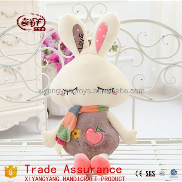 The new apple embroidery plush toy rabbit with scarf pink rabbit plush toy