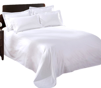 240TC sateen white King hotel top bed flat sheet