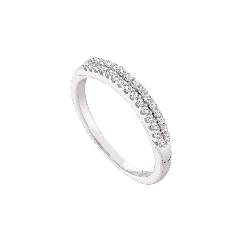 14k White Gold Womens Round Diamond 2-row Wedding Anniversary Bridal Band 1/5 Cttw