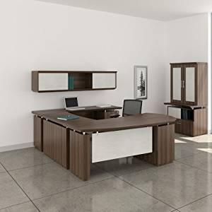 "Mayline 72"" L-Shaped Desk W/Wall Mount Hutch Desk: 72""W X 108""D X 29.5""H Wall Mount Hutch: 72""W X 16.5""D X 16.5""H 1 5/8"" W/Knife Edge Detail - Textured Brown Sugar - Bridge on Left (Right Shown )"