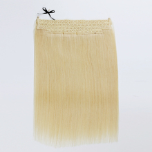 "invisible Miracle Wire hair pieces 16"" 22"" color #60 blonde human hair flip in hair extension"