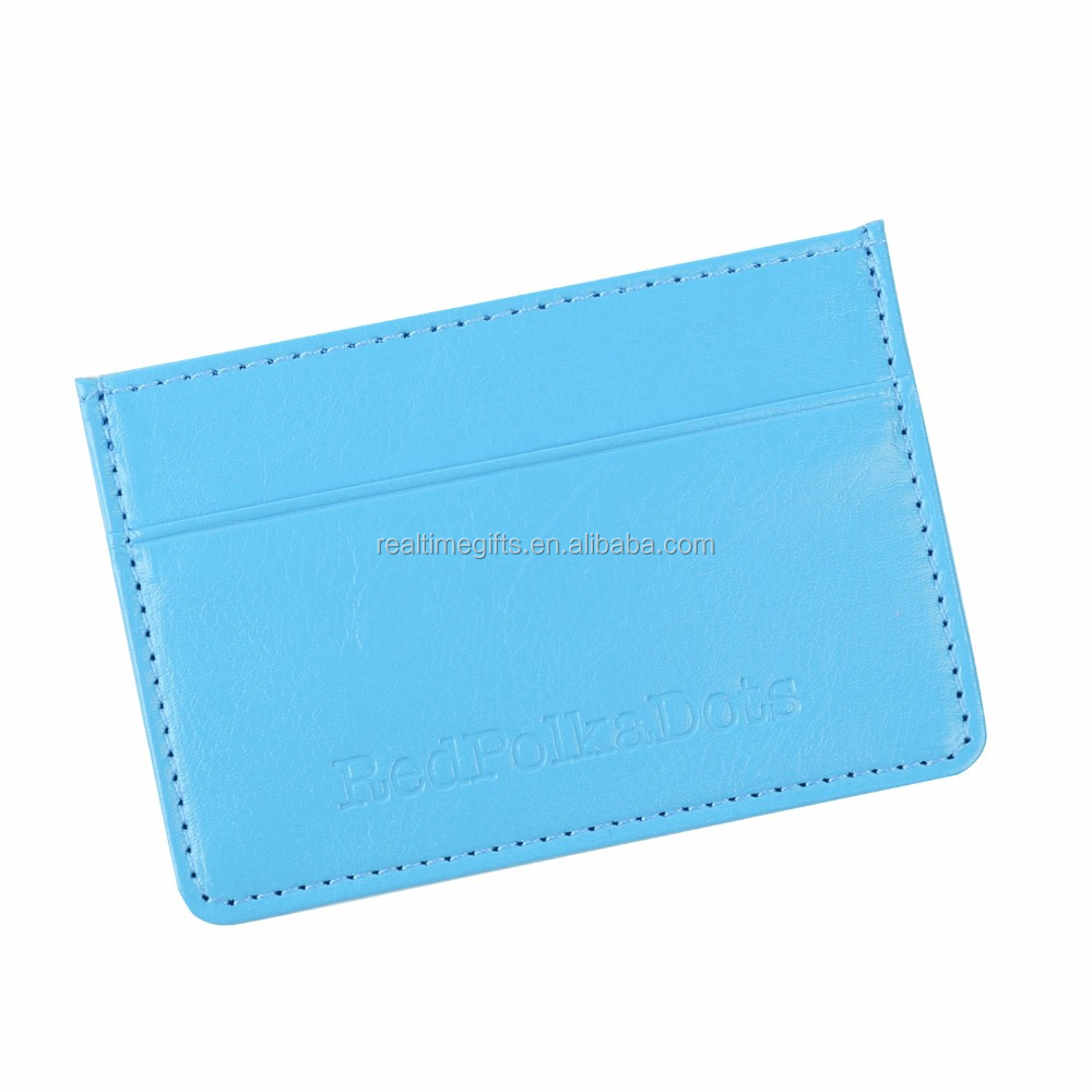 Fancy High Quality Blue PU Leather Card Holder Wallet For Credit Cards