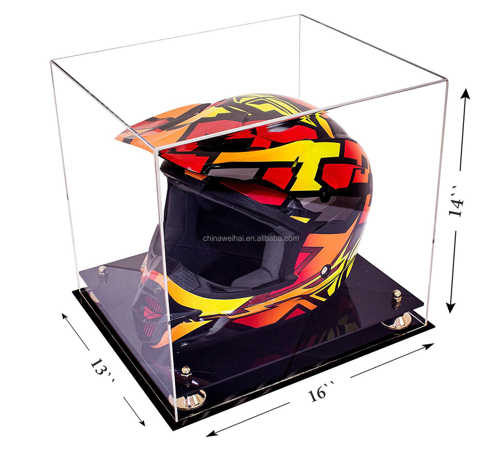 Motocross Racing Helmet Clear Gold Acrylic Motorcycle Helmet Display Case
