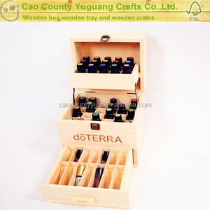 wholesale handmade pine 3 tier wooden hold 59 Doterra Essential Oil perfume bottles Storage carrying case gift box in packaging