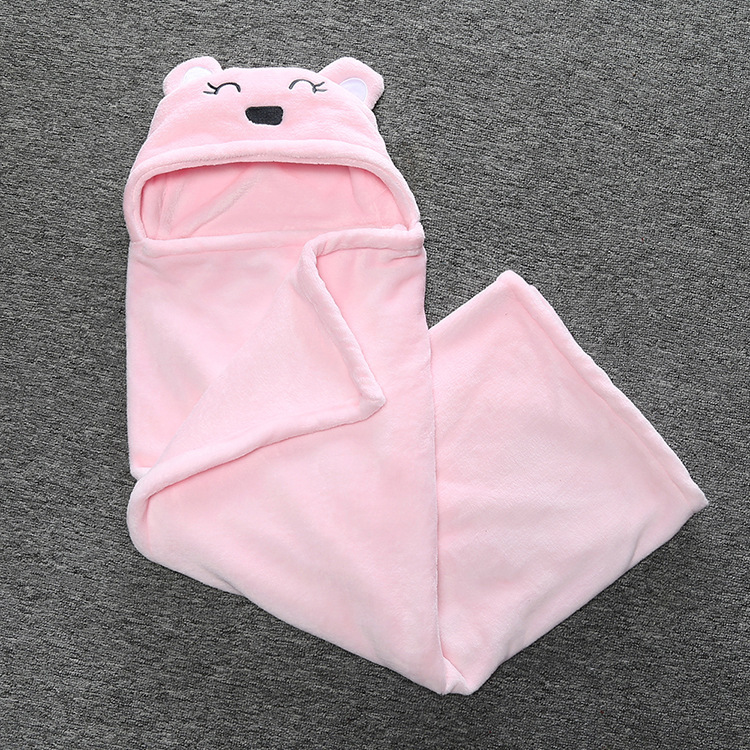Coral Velvet Blankets soft Baby swaddling Winter Bear Cartoon Hooded Warm Sleeping Bag
