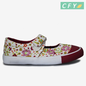 Children girls flat espadrille loafer shoes for kids flower printed princess canvas fashion footwear wholesale cheap price
