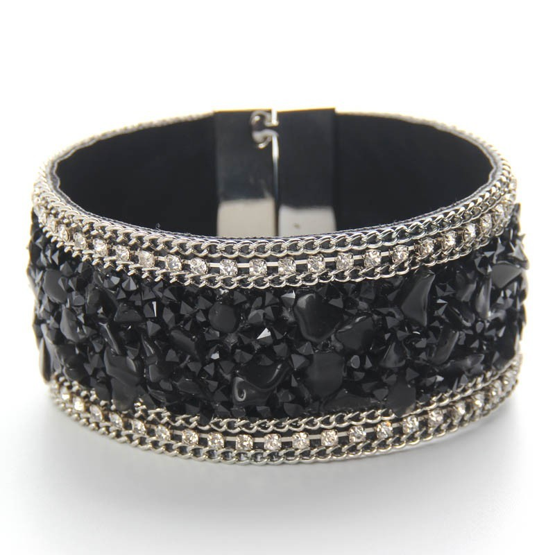 YWMT-C0298 Wholesale bohemia Nature stone magnetic buckle leather bracelet  for women