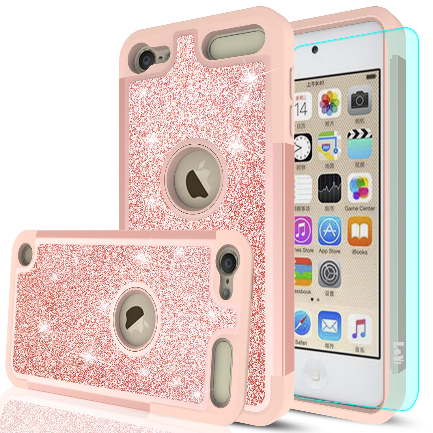 iPod Touch 6 Case, iPod Touch 5 Case with HD Screen Protector,LeYi Glitter Bling Girls Wome Dual Layer Heavy Duty Protective Phone Case for Apple iPod Touch 6th / 5th Generation TP Rose Gold