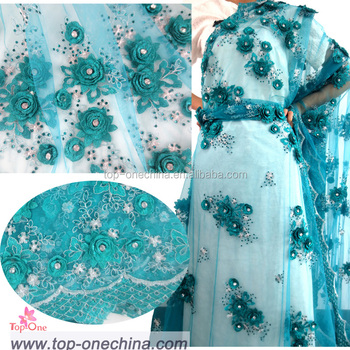 Fashion Applique Beaded Embroidery French Net Lace Fabrics Nigerian