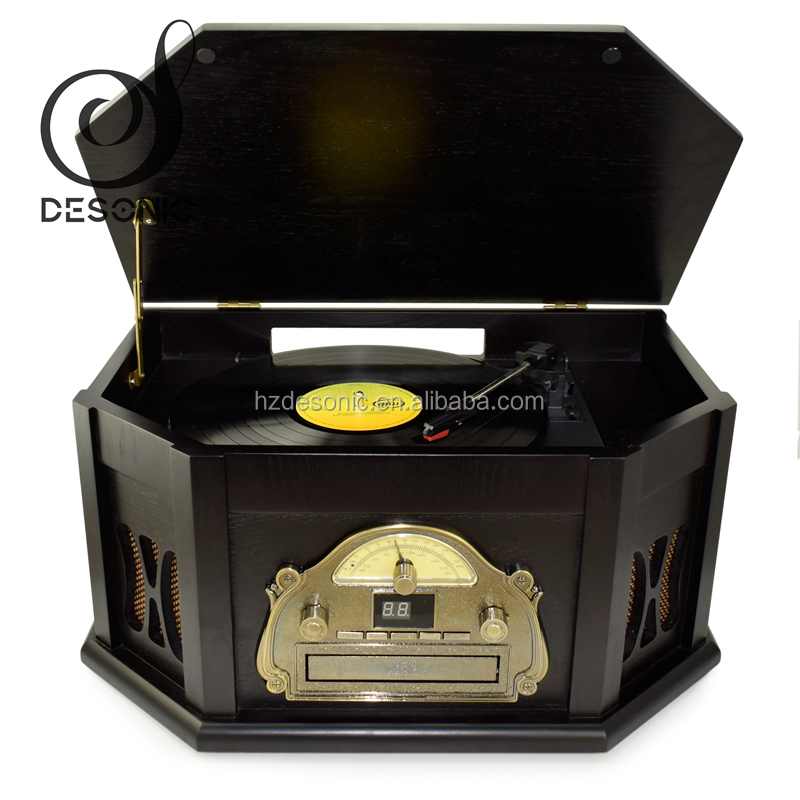 DS-168 Vintage CD gramophone retro turntable with CD radio