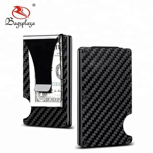China bulk clip for money Cool front pocket blank carbon fiber wallet money clip