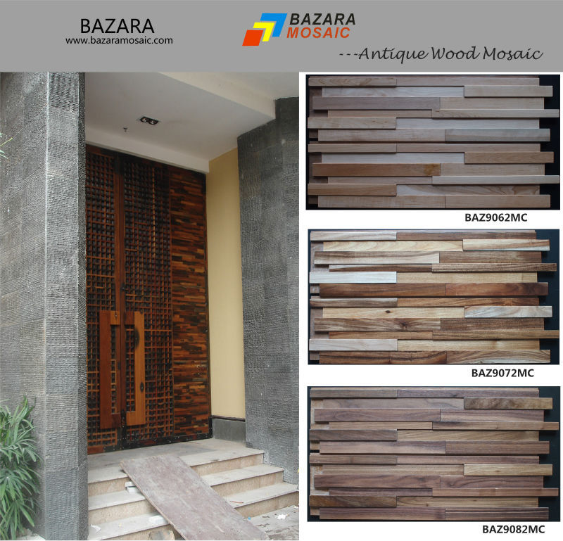 Sample Front Elevation Tiles : Herringbone wood mosaic for wall background tile