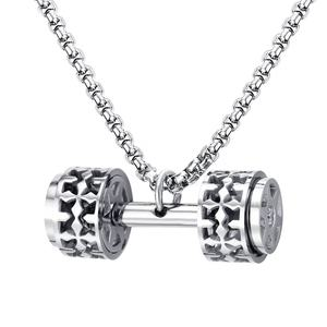 Hot design jewelry stainless steel dumbbell pendant necklace with zircon stones
