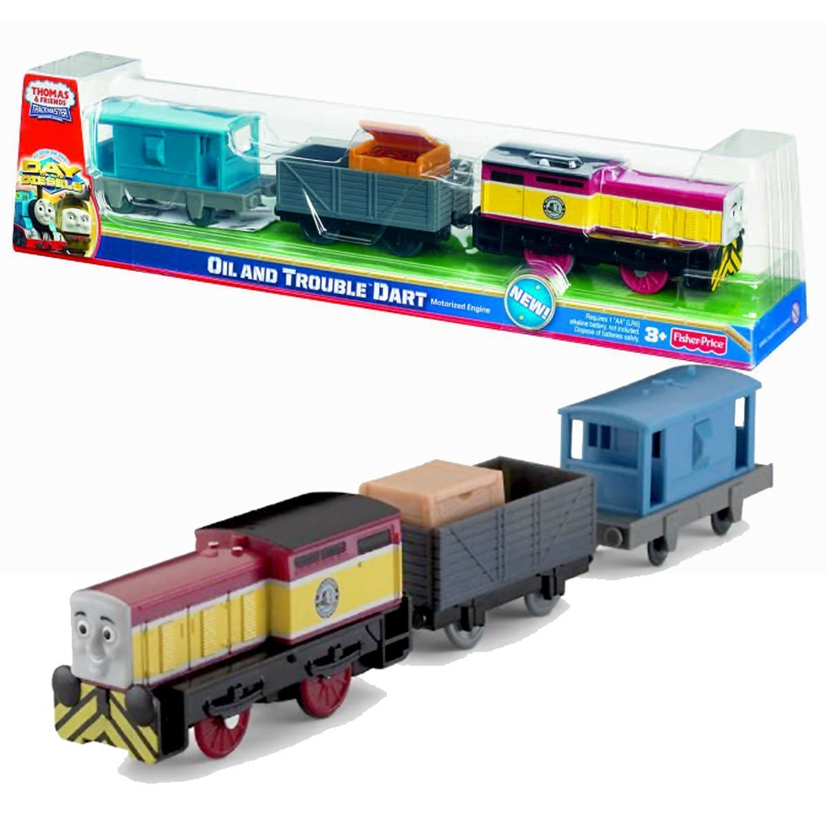 "Fisher Price Year 2011 Thomas & Friends Day of the Diesels Series Trackmaster Motorized Tank Engine 3 Pack Train Set - OIL and TROUBLE DART with Wagon Car Loaded with ""Hose"" Crate and Brake Van"