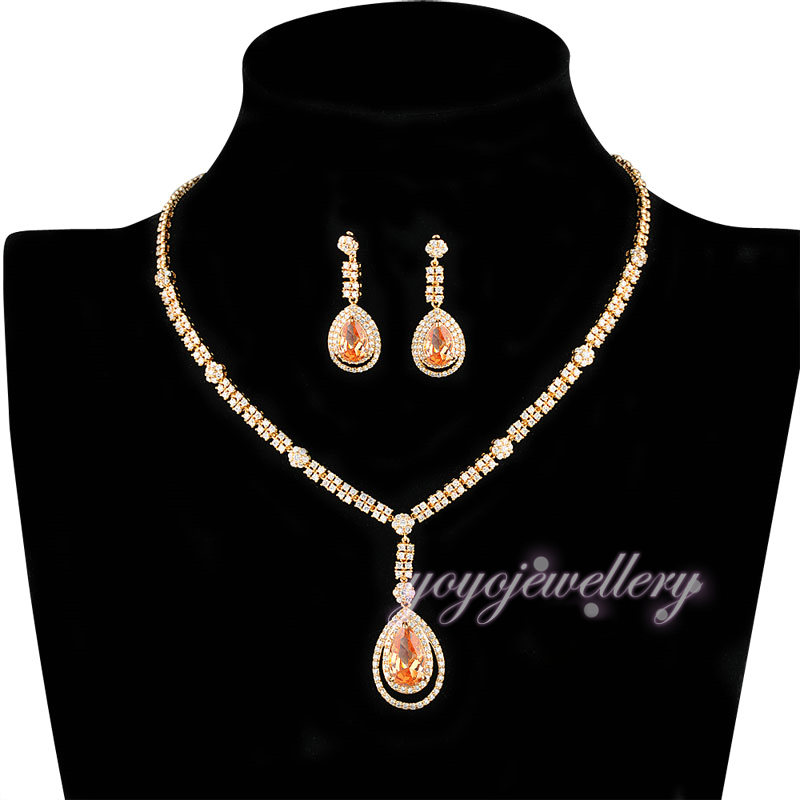 Wedding jewelry wholesale yellow crystal solid gold plated dubai jewellery set