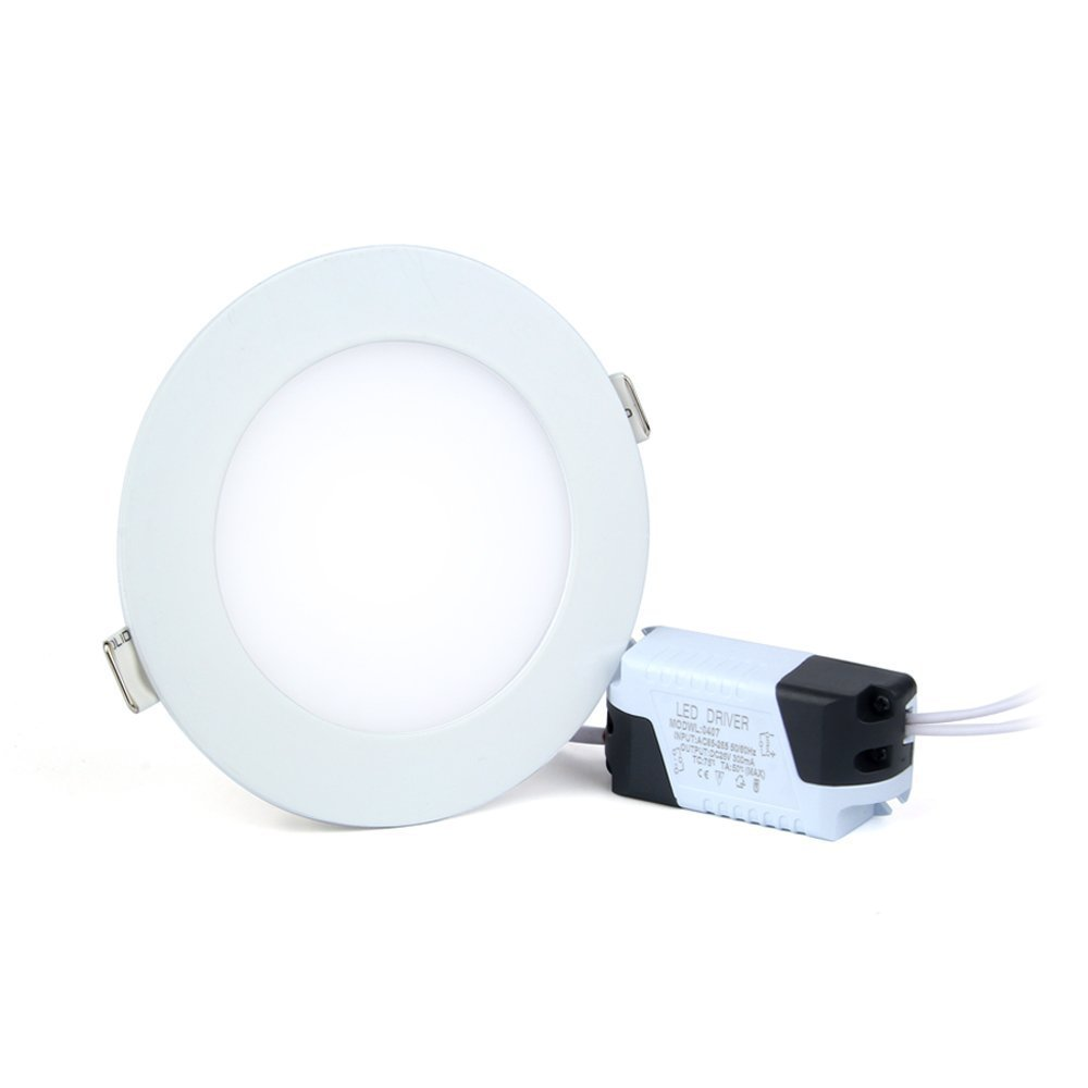 6W LED Panel Light Flat Lamp Round Ultra-Thin Recessed Ceiling Light Downlight Fixture Kit Warm White 3000K 40W Incandescent Equivalent with LED Driver by JerryLamp