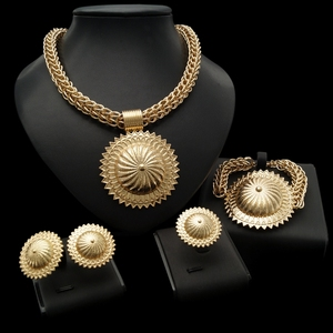 YULAILI 2018 New Arrival Acero Inoxidable Joyas Evening Gold Jewelry Sets for Ladies