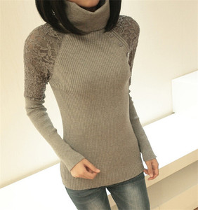 Autumn Winter Women Sweater Turtle Neck Button Lace pullover sweater women Casual Knitwear
