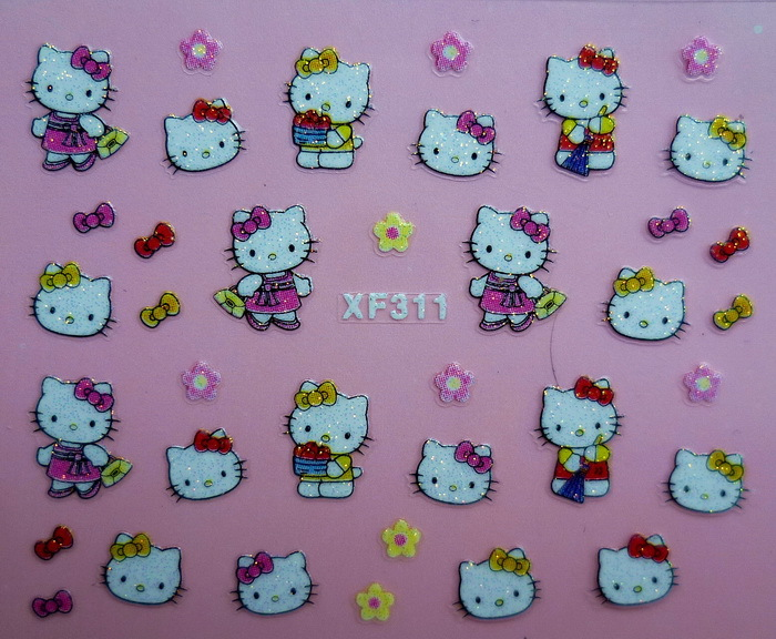 Fashion 3D hello kitty Design Nail Art Water Transfer Sticker Decals Cute Cats Stickers Decorations Watermark