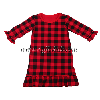 df845c404ae2 Long sleeves buffalo checker dress plaid christmas baby kids girl pajamas  gown wholesale nightgowns